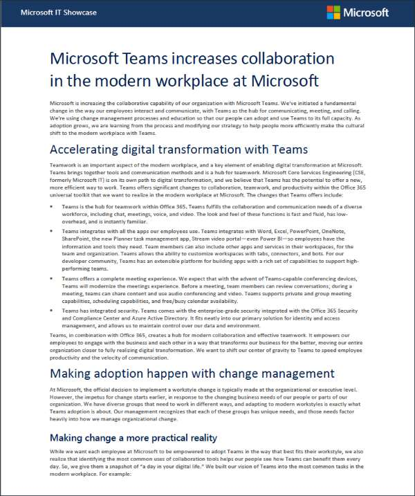Microsoft Teams increases collaboration in the modern